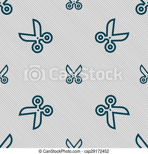 scissors icon sign. Seamless pattern with geometric texture. Vector - csp29172452
