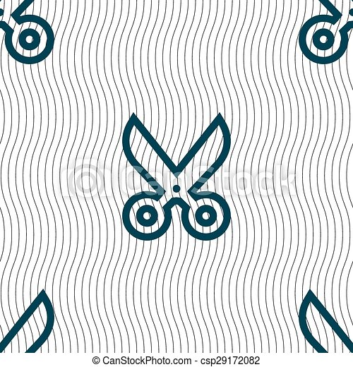 scissors icon sign. Seamless pattern with geometric texture. Vector - csp29172082