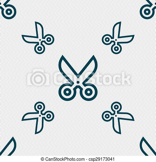scissors icon sign. Seamless pattern with geometric texture. Vector - csp29173041