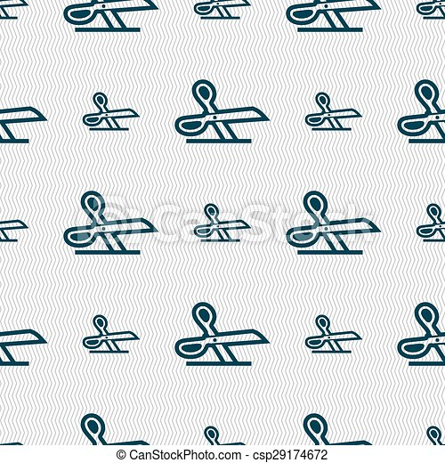 scissors icon sign. Seamless pattern with geometric texture. Vector - csp29174672