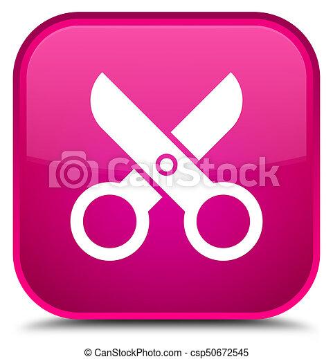 Scissors icon special pink square button - csp50672545