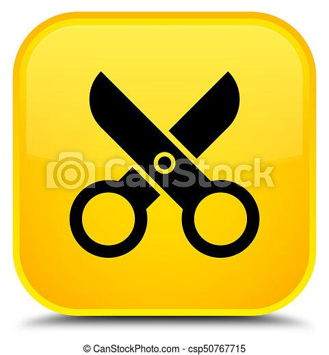 Scissors icon special yellow square button - csp50767715