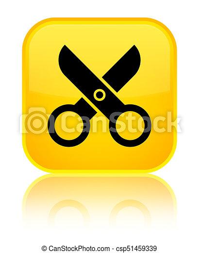Scissors icon special yellow square button - csp51459339