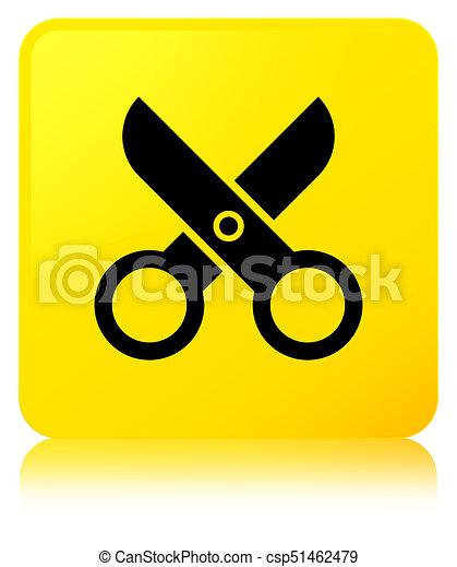 Scissors icon yellow square button - csp51462479