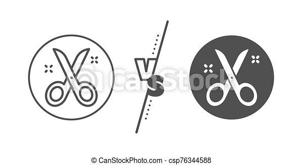 Scissors line icon. Cutting tool sign. Tailor utensil. Vector - csp76344588