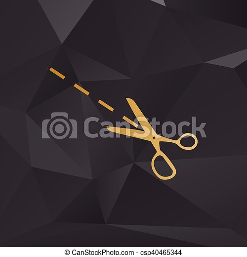 Scissors sign illustration. Golden style on background with polygons. - csp40465344