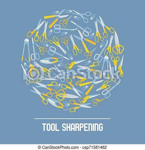 Scissors Tool Sharpening Banner Vector Illustration Hairdressing Salon Background Barbershop Backdrop Advertisement