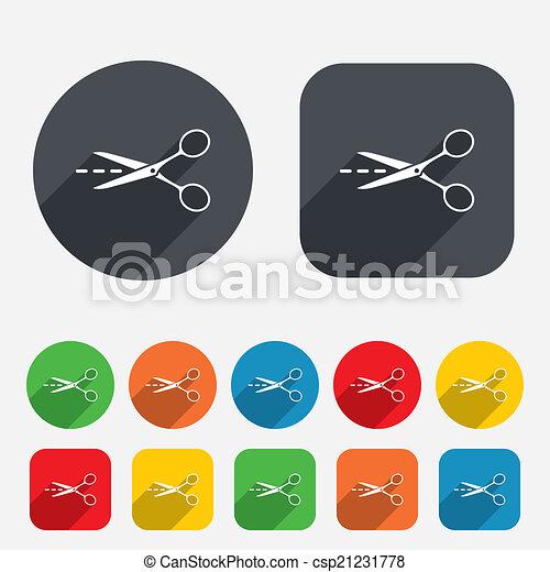 Scissors with cut line sign icon. Tailor symbol. - csp21231778