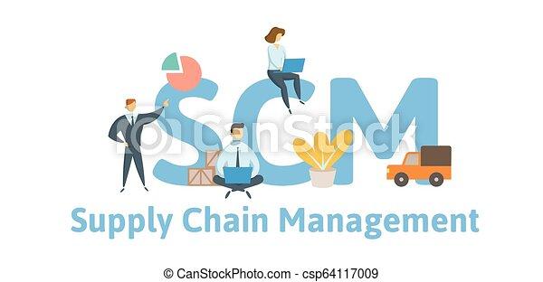 scm, appartamento, concetto, illustration., catena, fornitura, -, lettere, icons., isolato, fondo., vettore, keywords, bianco, management. - csp64117009
