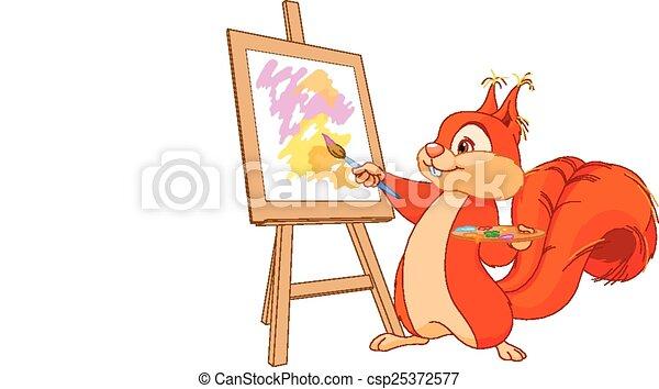 scoiattolo, artista - csp25372577