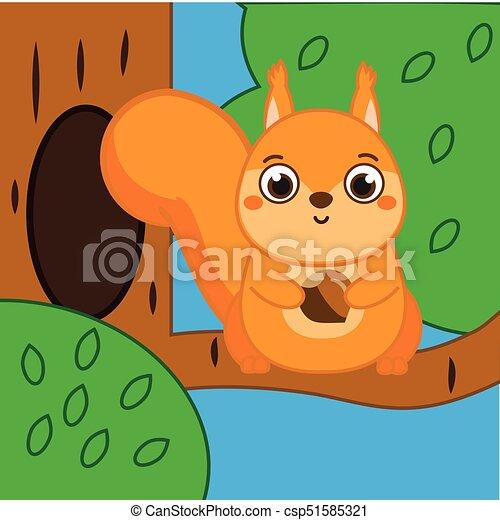 Scoiattolo seduta ramo albero presa a terra nocciola cartone
