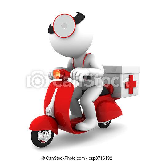 scooter., begreb, nødsituation tjeneste, medicinsk, medic - csp8716132