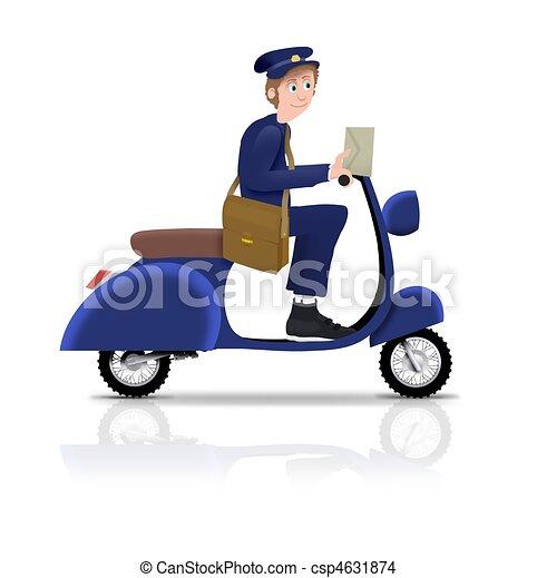 scooter, brievenbesteller - csp4631874