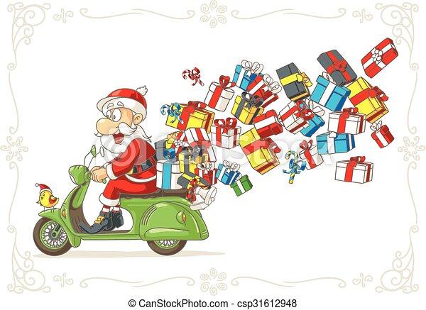 scooter, claus, presentes, vetorial, santa, caricatura - csp31612948