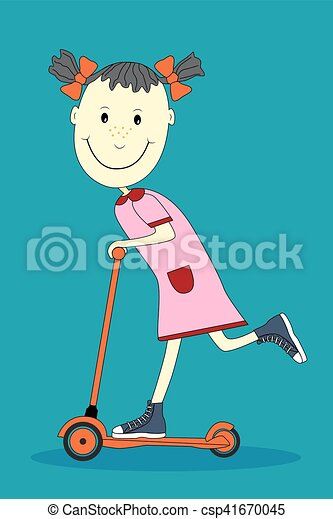 Un dibujo animado de una chica sonriente en scooter. - csp41670045