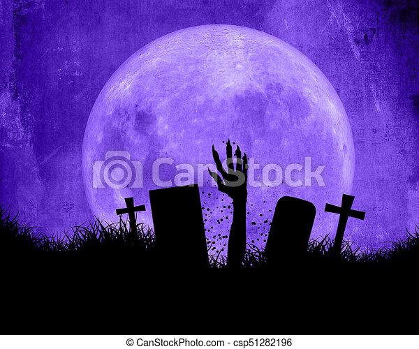 scoppio, halloween, mano, zombie, fondo, fuori, suolo - csp51282196