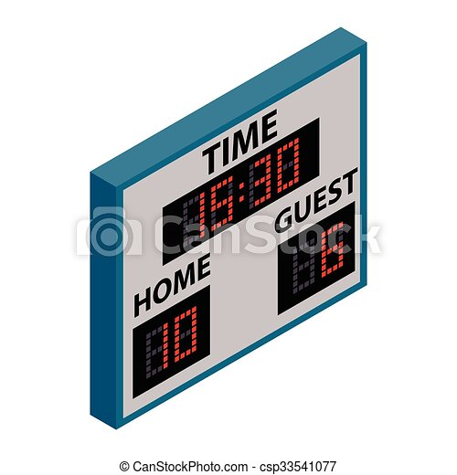 scoreboard isometric 3d icon on a white background vectors rh canstockphoto com baseball scoreboard clip art baseball scoreboard clip art