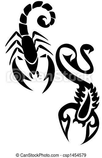 Dessin D Un Scorpion scorpions. paire, noir, tribal, scorpion, tatttoos.