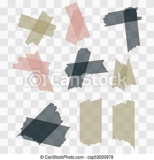 Scotch Adhesive Tape Pieces Isolated On Transparent Background