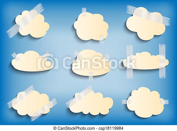 scotch, carta, nastro, nuvola, collezione - csp18119984
