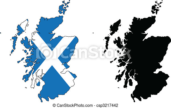 Vector Map And Flag Of Scotland