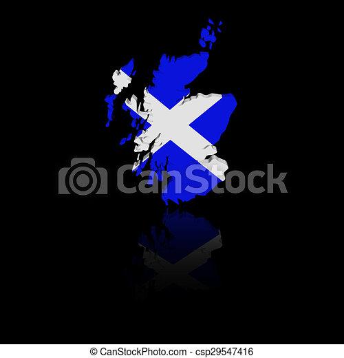 Scotland map flag with reflection illustration - csp29547416