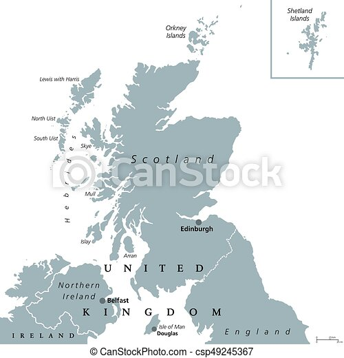Political Map Of Great Britain.Scotland Political Map With Capital Edinburgh Country And Part Of