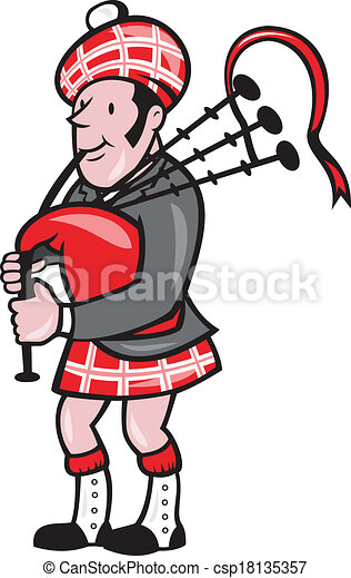 scotsman bagpiper bagpipes cartoon illustration of a scotsman rh canstockphoto com bagpipes clipart man playing bagpipes clipart