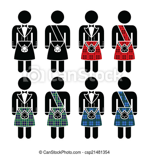 Scotsman, man wearing kilt icons - csp21481354
