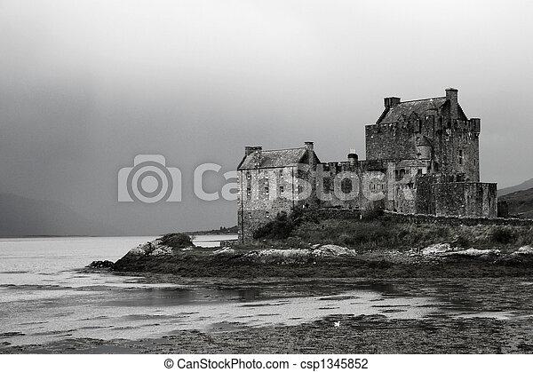 Scottish Castle on loch - csp1345852