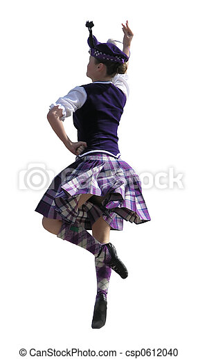 Scottish dancer. A girl performing a highland dance for ...