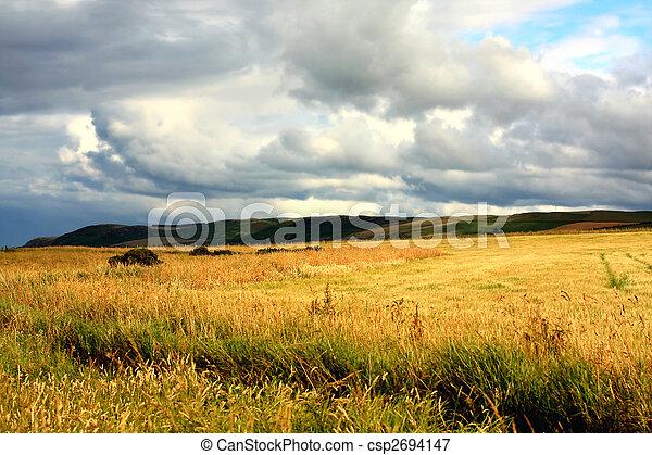 Scottish landscape with dramatic sky - csp2694147