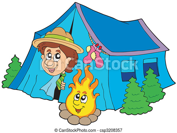 Scout camping in tent - csp3208357