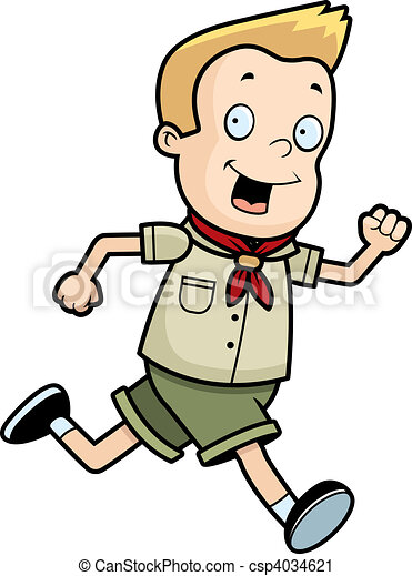 a happy cartoon boy scout running and smiling vector clip art rh canstockphoto com boy scout clipart png boy scout camping clipart