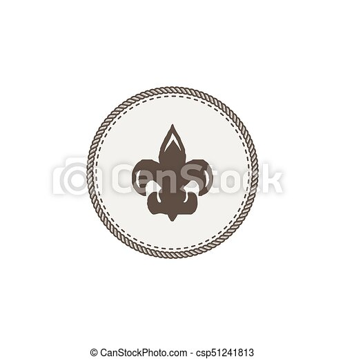 Scout symbol icon. Outdoor adventure retro design. Camping pictogram. Stock vector illustration isolated on white background. - csp51241813