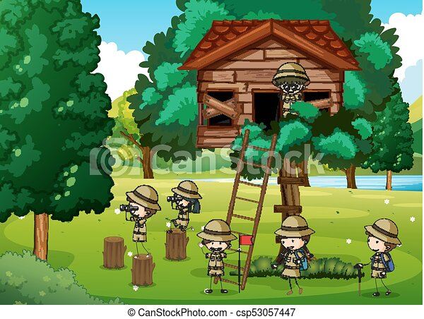 Scouts playing in the treehouse - csp53057447