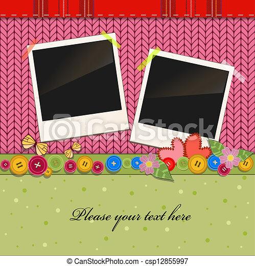Scrap holiday vintage set of photo frames - csp12855997