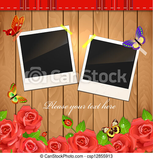 Scrap holiday vintage set of photo frames - csp12855913