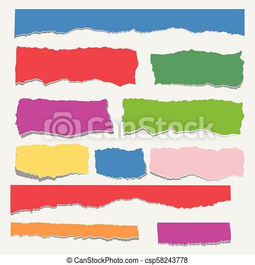 Scrap Paper Color Set Torn Pieces Of White Sheet Flat Vector
