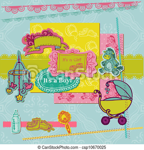 Scrapbook Design Elements - Baby Arrival Set - for scrap booking or design in vector - csp10670025