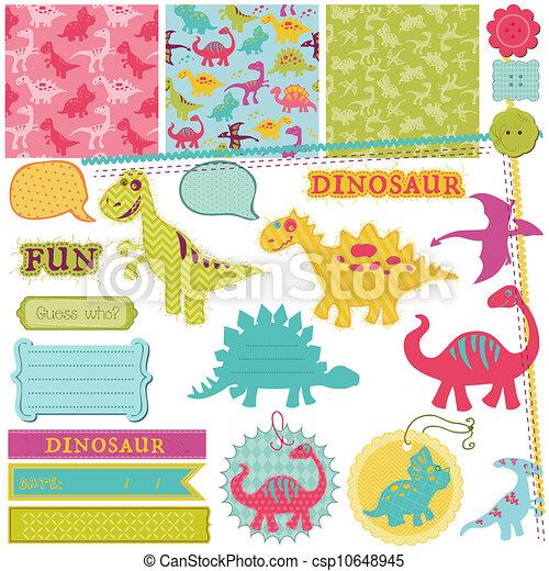 Scrapbook Design Elements Baby Dinosaur Set In Vector