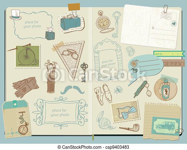 Scrapbook Design Elements - Gentlemen's Accessories doodle collection - hand drawn in vector - csp9403483