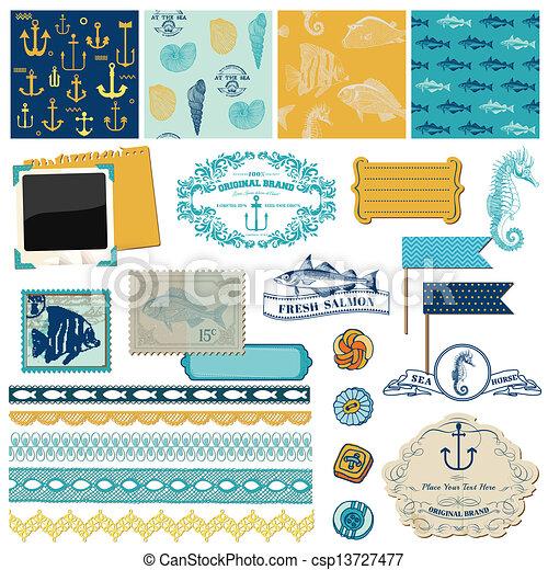 Scrapbook Design Elements - Nautical Sea Theme - for scrapbook and design in vector - csp13727477