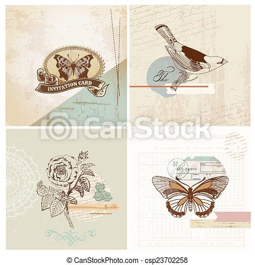 Scrapbook Design Elements - Vintage Paper Set - in vector - csp23702258