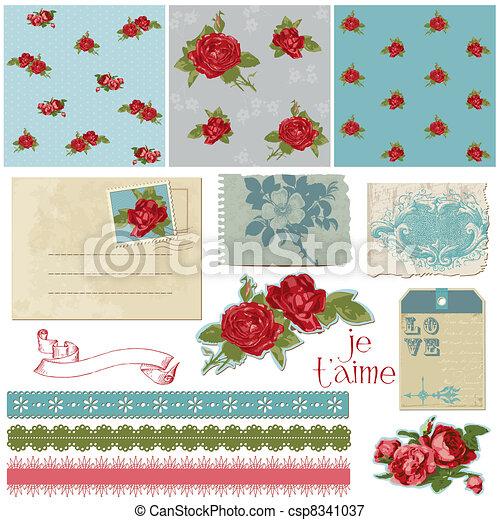 Scrapbook Design Elements - Vintage Flowers in vector - csp8341037
