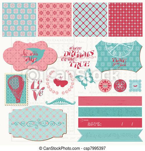 Scrapbook Design Elements Vintage Love Set