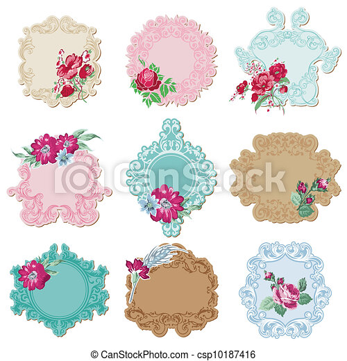 Scrapbook Design Elements - Vintage Tags and Frames with Flowers - in vector - csp10187416