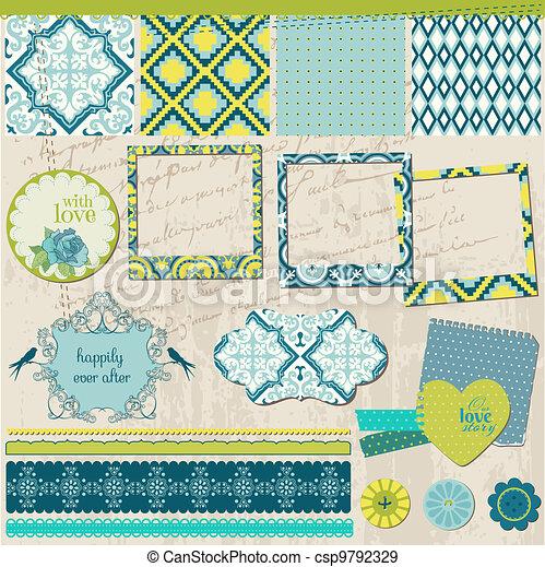 Scrapbook Design Elements - Vintage Tile with frames - in vector - csp9792329