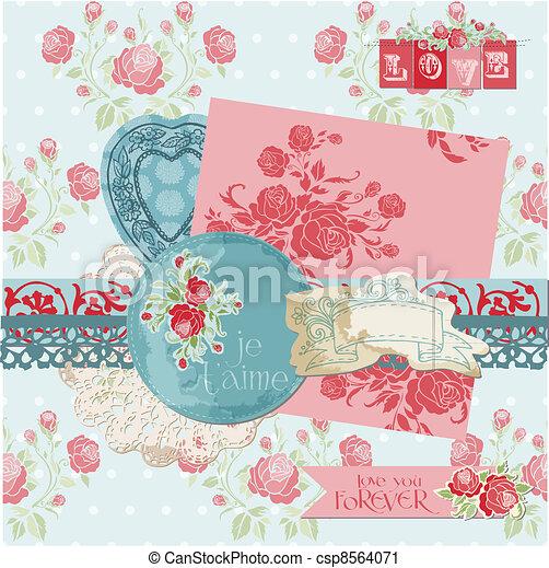 Scrapbook Design Elements - Vintage Flowers in vector - csp8564071