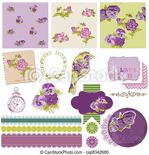 Scrapbook Design Elements - Vintage Flowers in vector - csp8342680